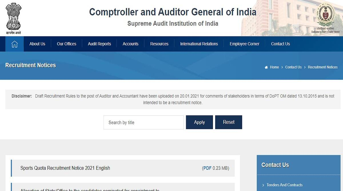 CAG Delhi Recruitment 2021: Clerk and Auditor Accountant Posts cag.gov.in