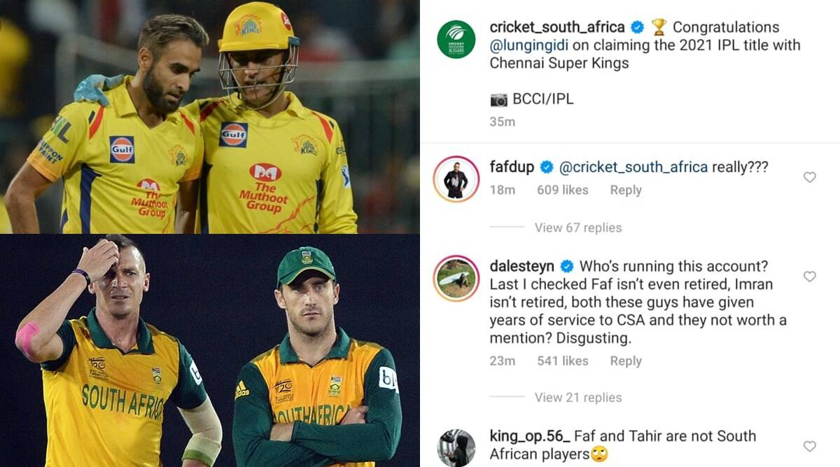 dhoni-chennai-super-kings-cricketers-including-imran-tahir-insulted-by-cricket-south-africa-faf-du-plessis-and-dale-steyn-answered-furiously – South Africa Cricket Congrats only to Lungi Ngidi on winning IPL 2021;  Du Plessis replied like this