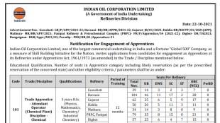 IOCL, IOCL Job, IOCL Notification, Govt Job