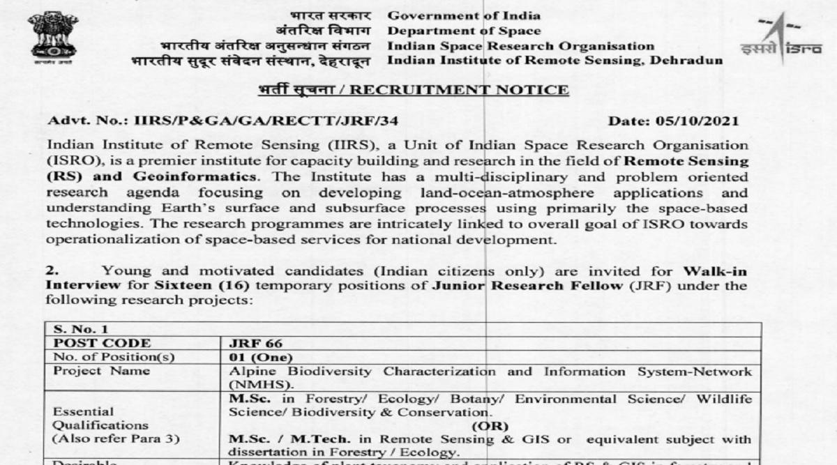 ISRO Recruitment 2021: Walk-In Interview in October for 16 vacancies of JRF iirs.gov.in