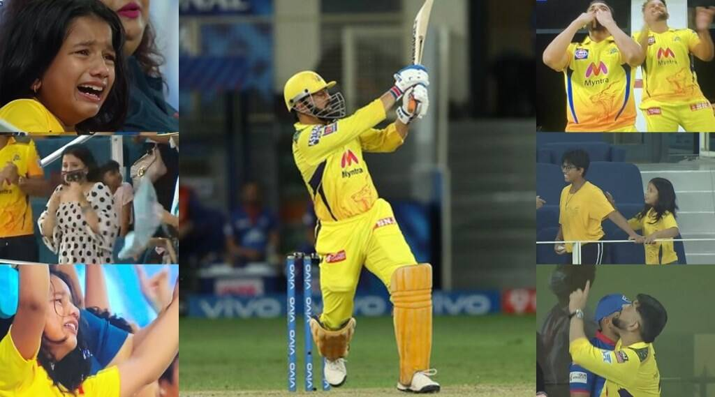 ms-dhoni-finishes-for-csk-against-dc-in-ipl-2021-qualifier-1-and-reaches-final-sakshi-dhoni-and-young-csk-girl-crying-in-stadium-deepak-chahar-whistled-video