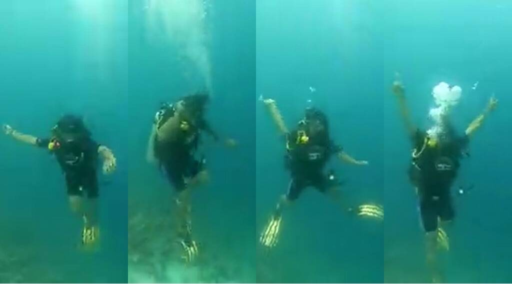 Neeraj Chopra Maldives holiday underwater practice throw javelin scuba dive Tokyo Olympics gold Medalist Watch VIDEO