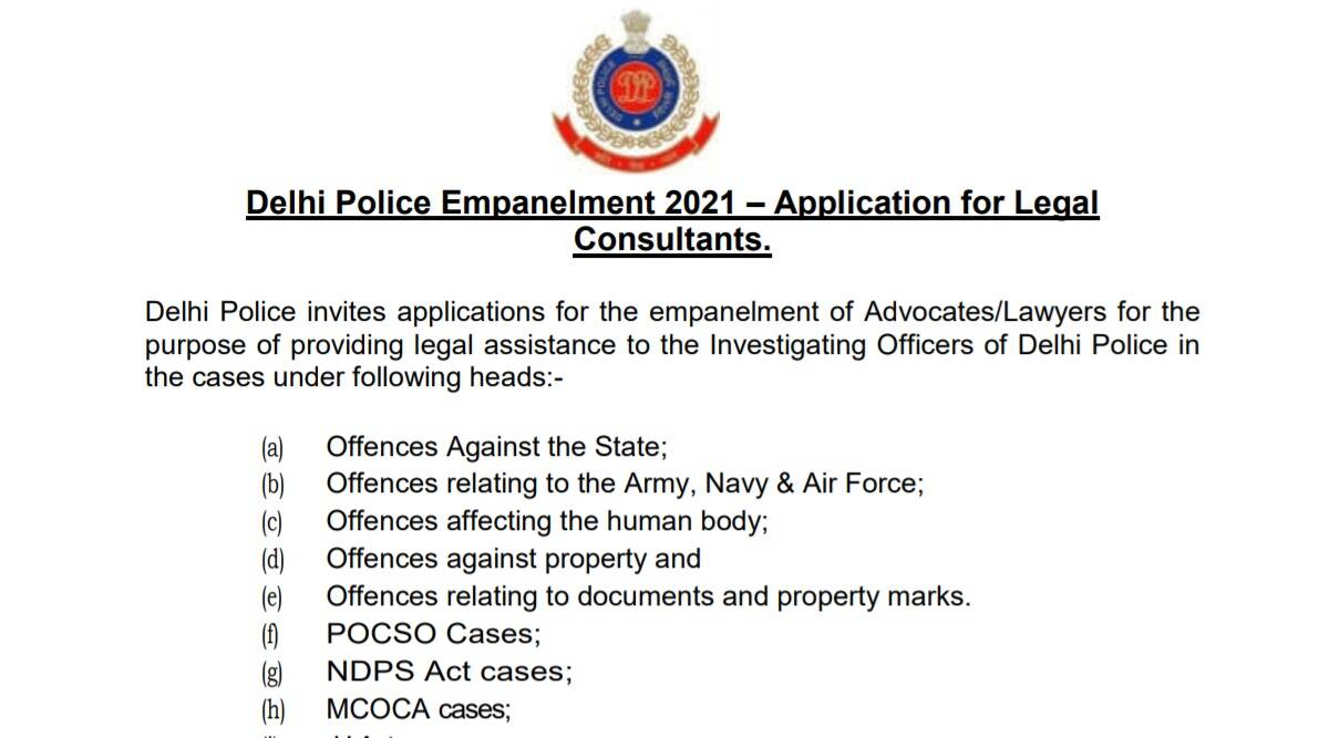 Police Recruitment 2021: Apply for Legal Consultant Posts in Delhi Police before 14 October.  Check here for latest updates