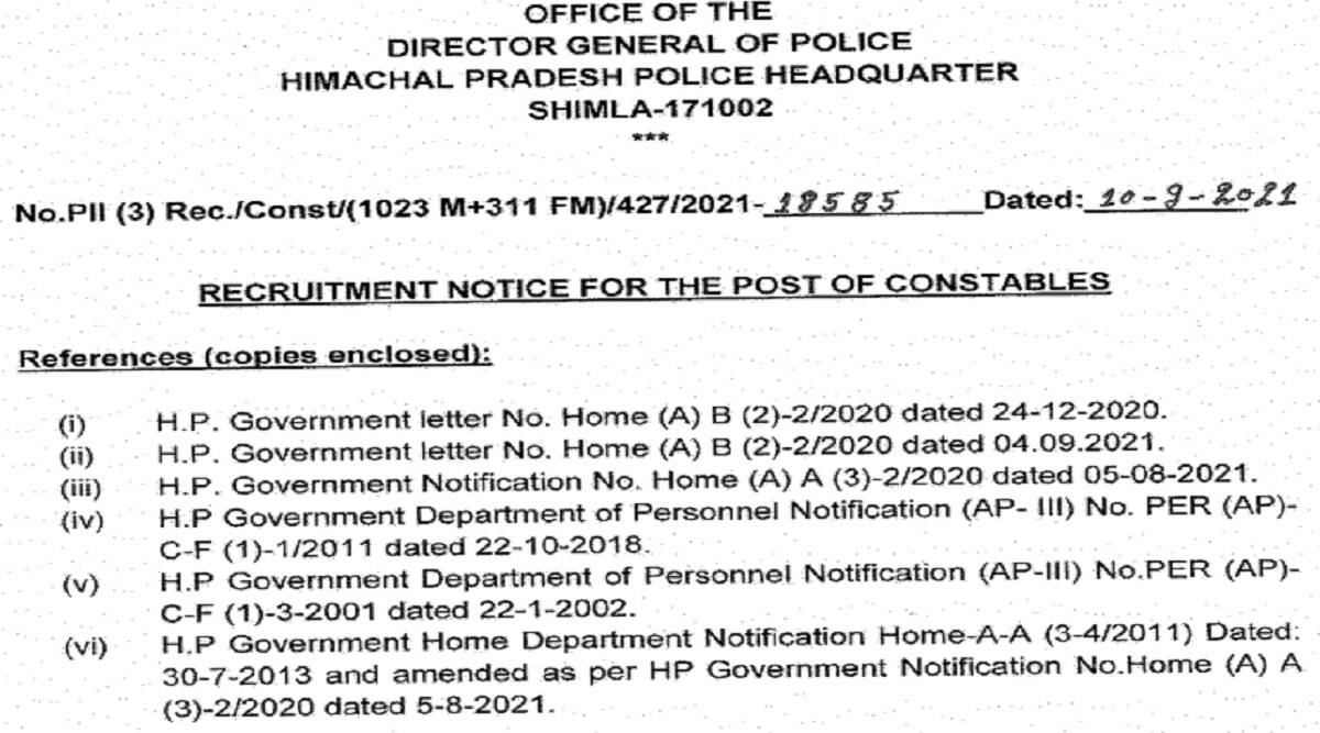 Police Recruitment 2021: apply online for HP Police Constable Recruitment 2021 at citizenportal.hppolice.gov.in