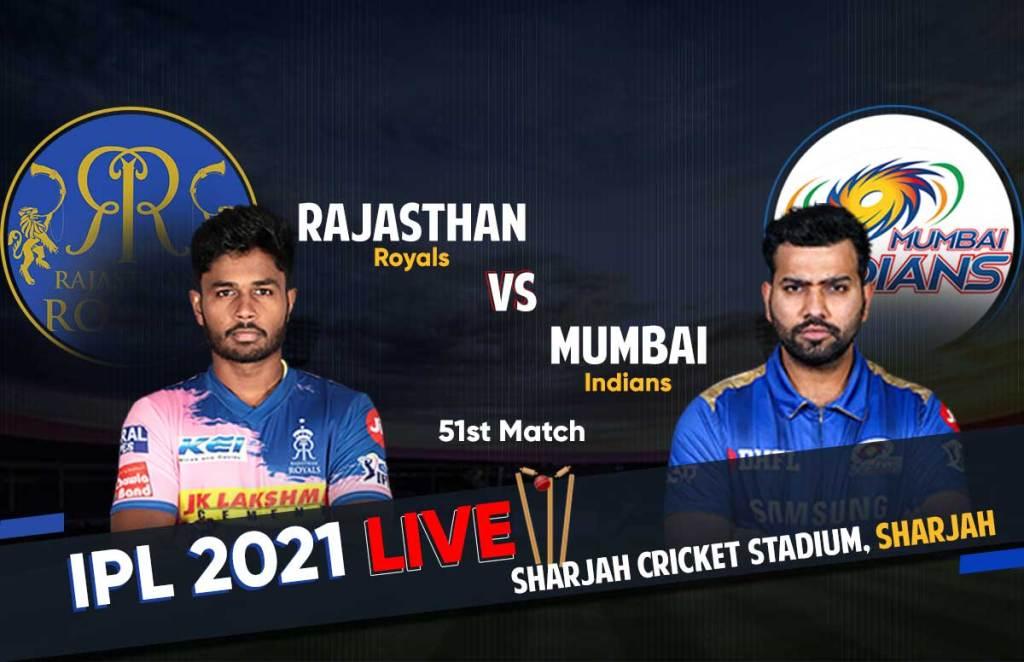 IPL 2021 Live Score   RR Vs MI Live Score