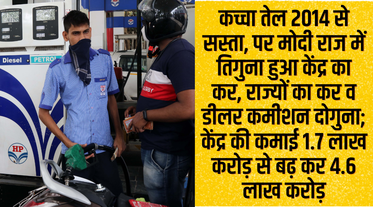 The tax on fuel increased wildly!  Otherwise even today petrol would have been Rs 66 per liter and diesel would sell at Rs 55 per liter Fuel Price Hike in India: If Tax Hike does not happen Petrol would be at 66 Rupees per liter and Diesel at 55 Rupees per liter now Tax!  Otherwise, even today petrol would have been Rs 66 per liter and diesel would have been sold for Rs 55 per liter.